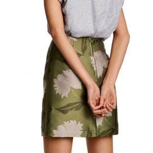 H & M Green Floral Jacquard Skirt